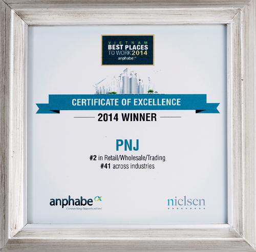 PNJ nằm trong top 100 nơi làm việc tốt nhất Việt Nam
