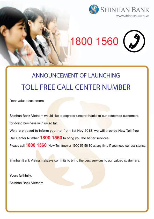 announcement of launching toll free call center