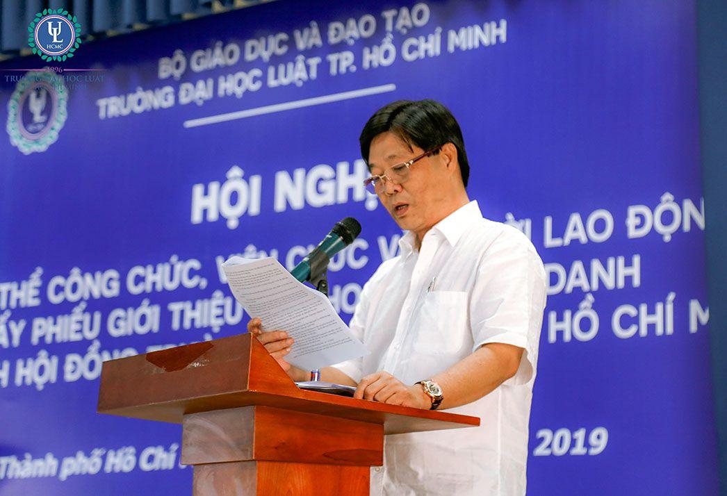 Hội nghị toàn thể công chức, viên chức và người lao động lấy phiếu giới thiệu quy hoạch chức danh Chủ tịch Hội đồng trường Trường Đại học Luật TP.HCM giai đoạn 2020-2025