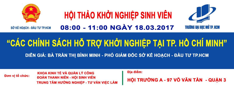 """Hội thảo Khởi nghiệp sinh viên: """"Các chính sách hỗ trợ khởi nghiệp của Thành phố Hồ Chí Minh"""""""