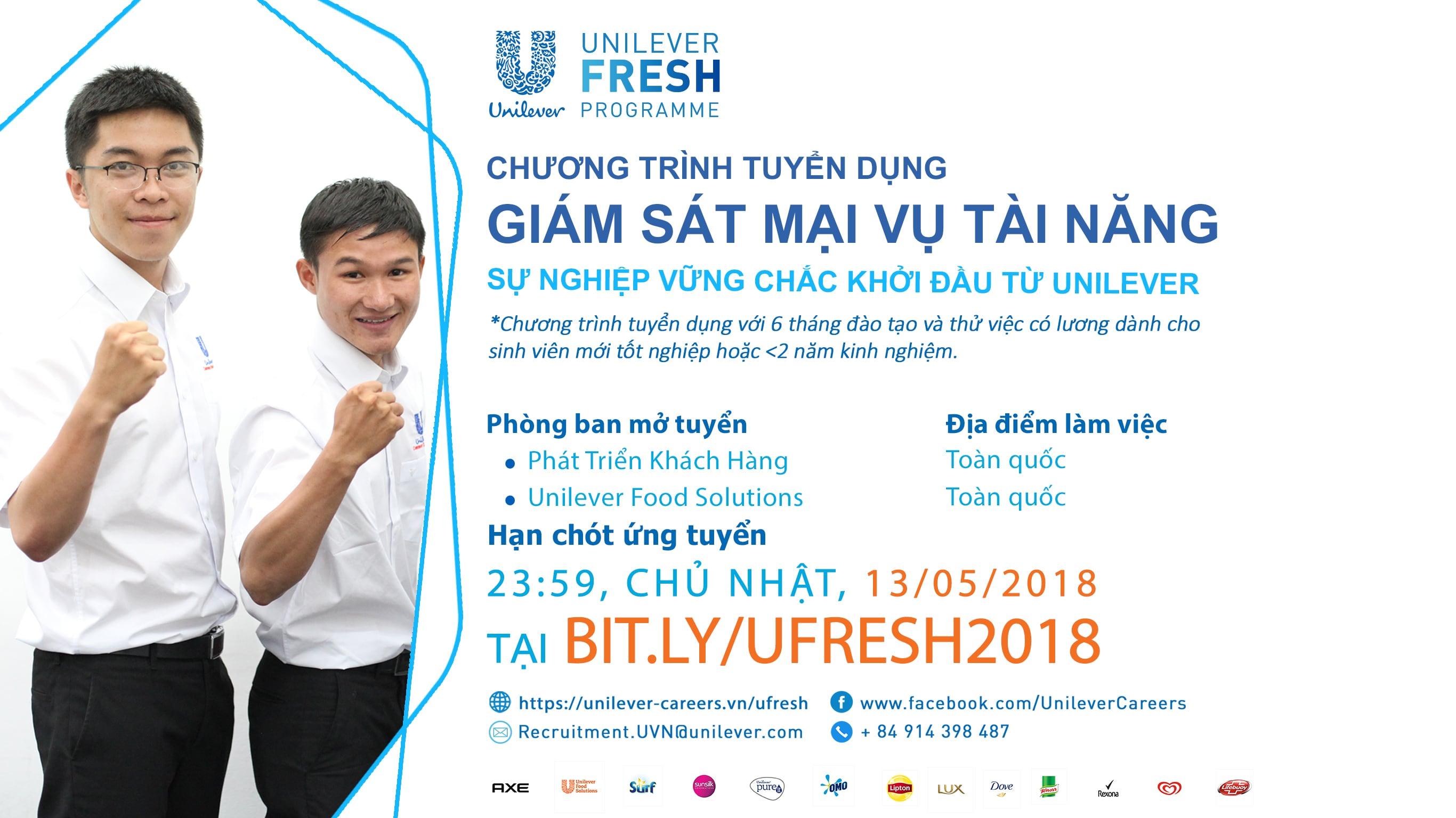 Unilever Fresh Programme – Tuyển Dụng Giám Sát Mại Vụ Tài Năng CDFRESH 2018