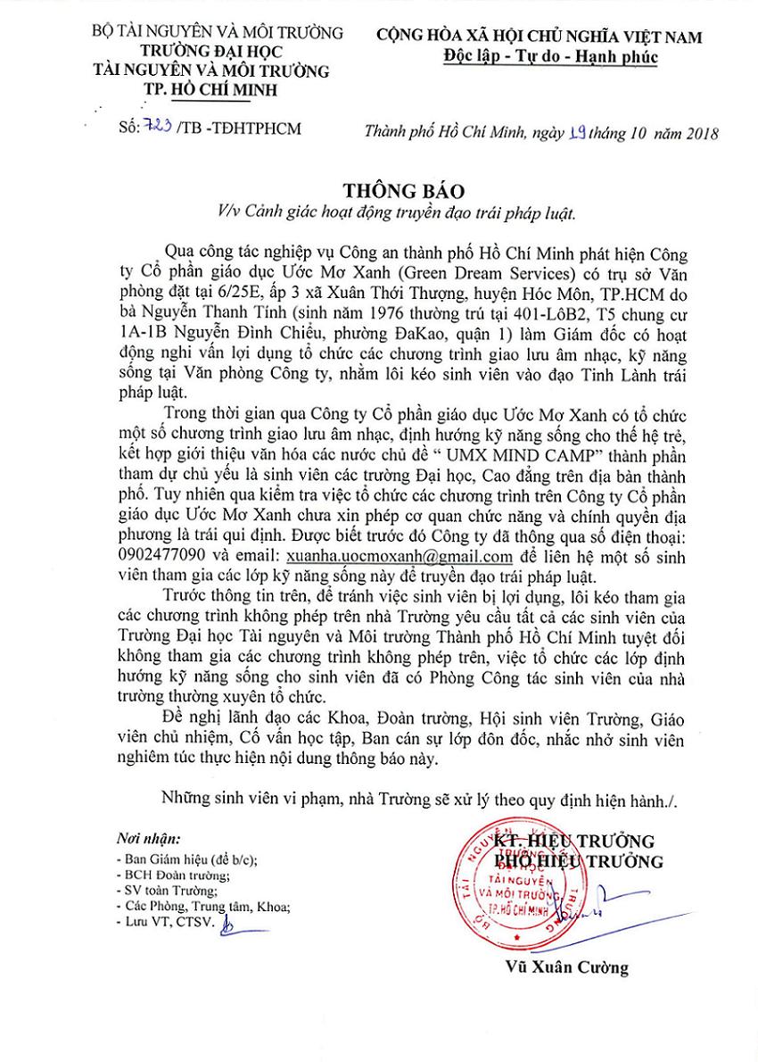 Thông báo số 723/TB-TĐHTPHCM ngày 19 tháng 10 năm 2018 của Hiệu trưởng