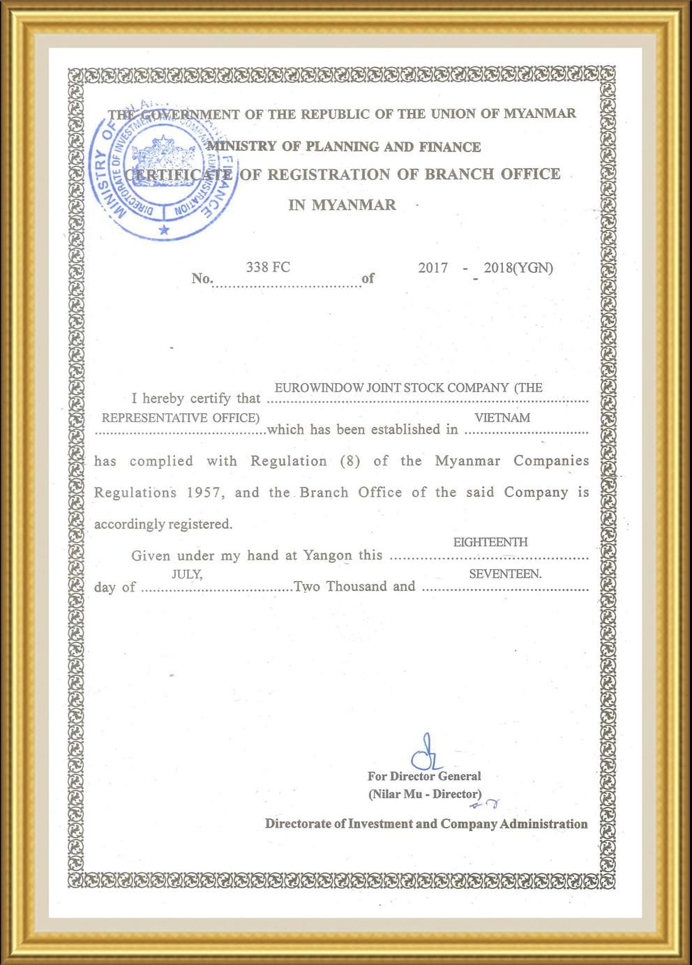Eurowindow thành lập Văn phòng đại diện tại Myanmar