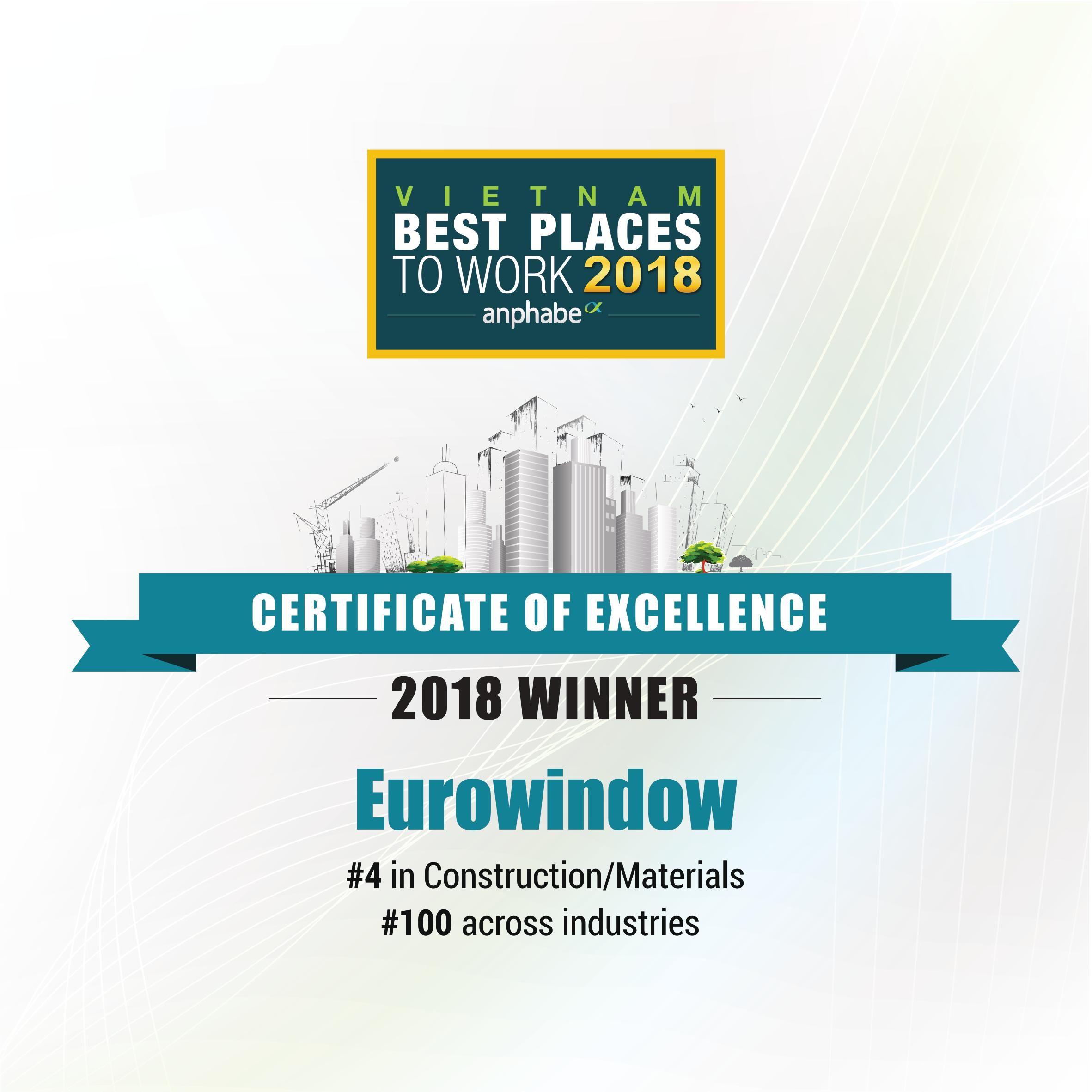 EUROWINDOW – 3 năm liên tiếp đạt danh hiệu Top 100 nơi làm việc tốt nhất Việt Nam 2018