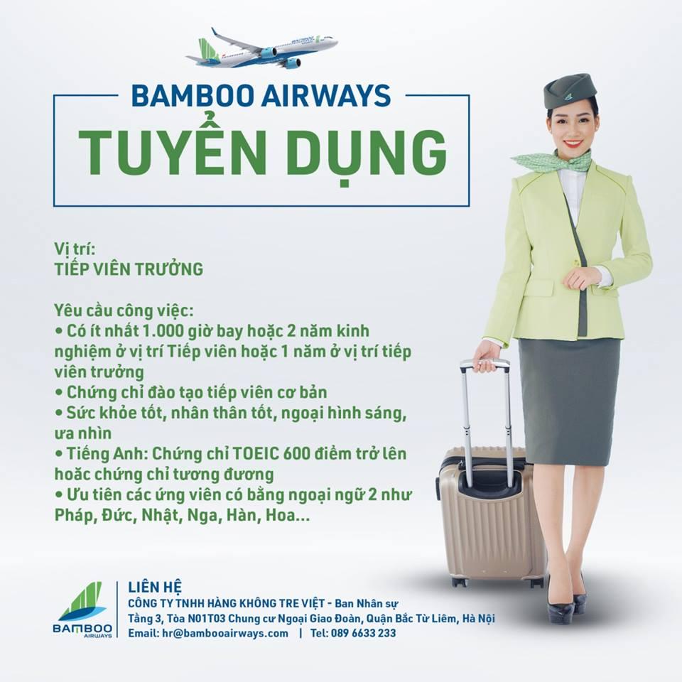 BAMBOO AIRWAYS - TUYỂN DỤNG TIẾP VIÊN TRƯỞNG