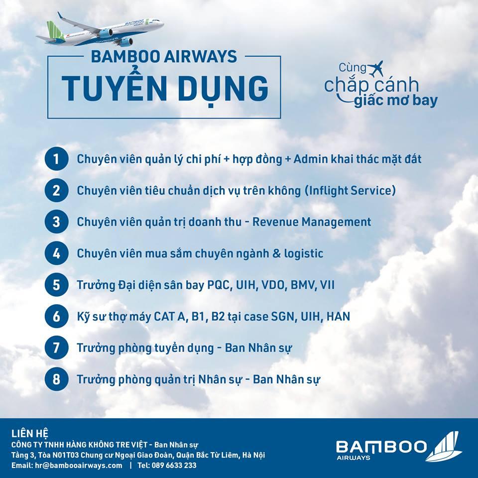 BAMBOO AIRWAYS - TUYỂN DỤNG NHIỀU VỊ TRÍ