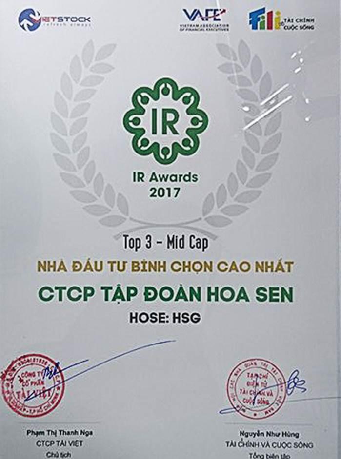 TẬP ĐOÀN HOA SEN NẰM TRONG  TOP 3 – MID CAP DOANH NGHIỆP NIÊM YẾT CÓ HOẠT ĐỘNG IR TỐT NHẤT 2017