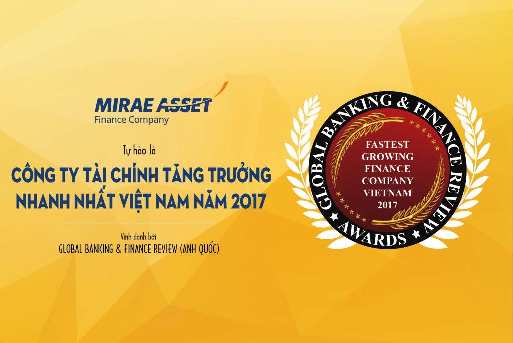 Mirae Asset đạt giải thưởng Công ty tài chính tăng trưởng nhanh nhất Việt Nam năm 2017