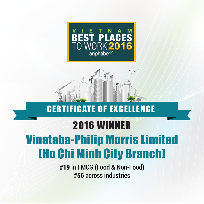 Vinataba-Philip Morris HCMC Branch - 2nd year in Top 100 Vietnam Best Places to Work