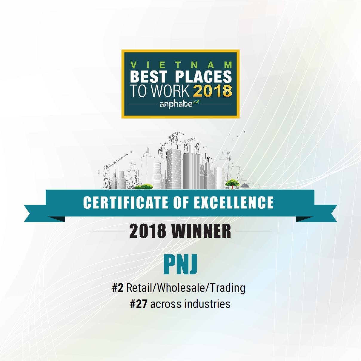 Trong năm nay, dấu ấn PNJ tiếp tục nổi bật với thành tích trong Top 100 Môi trường làm việc tốt nhất Việt Nam 2018