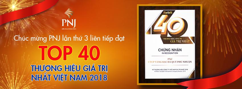 PNJ tiếp tục lọt Top 40 Thương hiệu giá trị nhất Việt Nam 2018