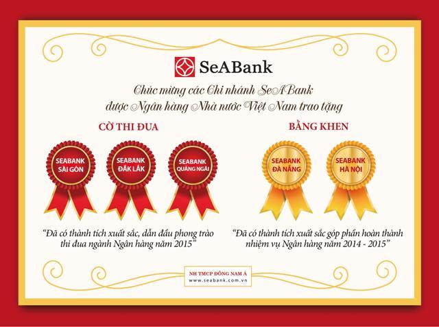Ngân hàng nhà nước tặng cờ và bằng khen cho 5 chi nhánh SeABank