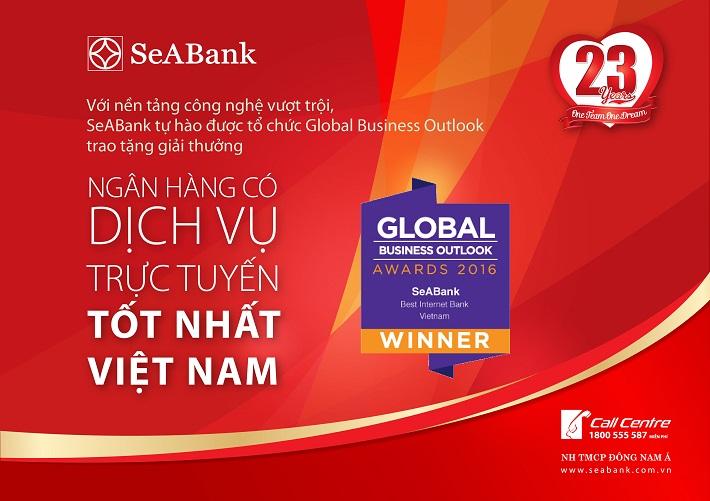 """SeABank nhận danh hiệu """"Dịch vụ ngân hàng trực tuyến tốt nhất Việt Nam 2016"""""""