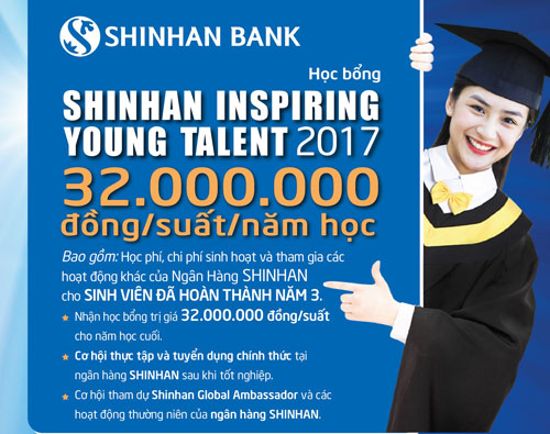 "SCHOLARSHIP – ""SHINHAN – INSPIRING YOUNG TALENT 2017"""